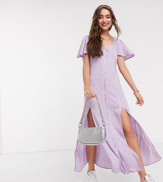 Miss Selfridge Petite angel sleeve ditsy maxi dress in lilac