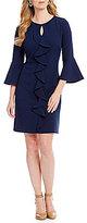 Jessica Howard Ruffle-Front Bell-Sleeve Dress