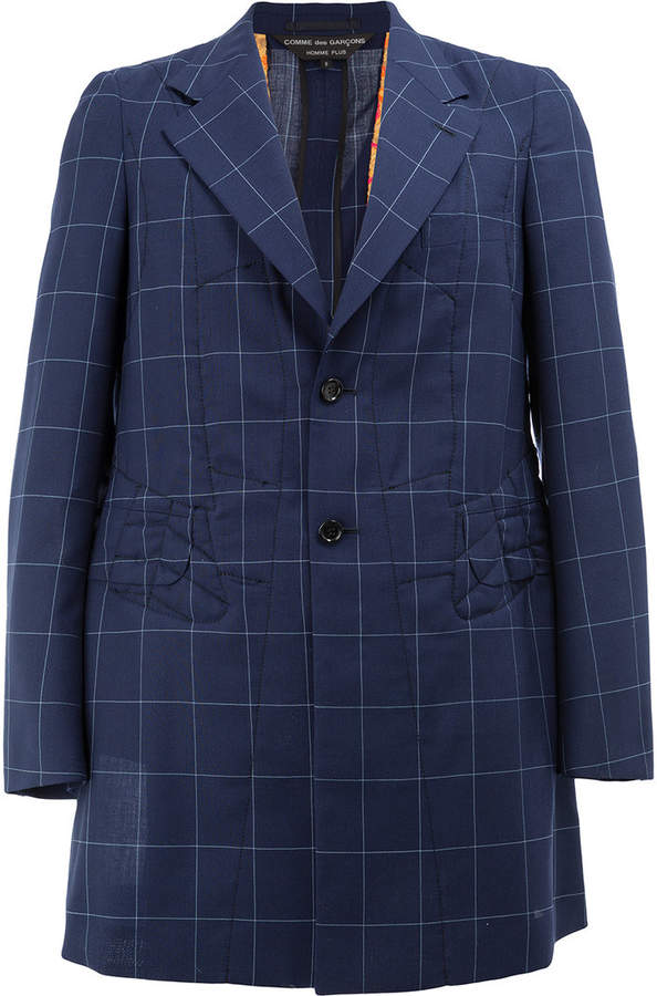 Comme des Garcons single-breasted plaid coat