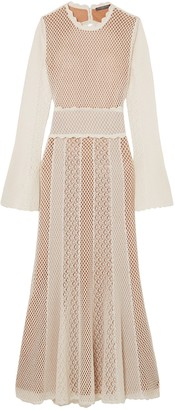 Alexander McQueen Open-back Paneled Crocheted Cotton-blend Midi Dress