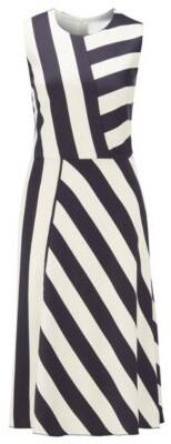 BOSS Midi-length block-stripe dress in crinkle crepe