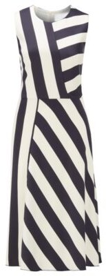 HUGO BOSS Midi-length block-stripe dress in crinkle crepe
