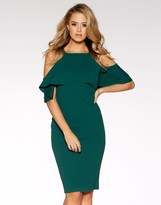 Quiz Cold Shoulder Frill Bodycon Dress
