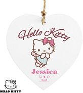 Hello Kitty Personalised Fairy Wooden Heart Decoration