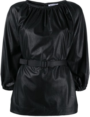 BROGNANO Belted Faux Leather Top
