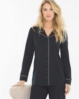 Soma Intimates Long Sleeve Notch Collar Pajama Top Black