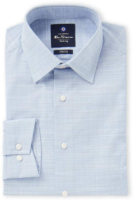 Ben Sherman Blue Grid Stretch Dress Shirt