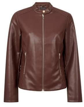 Dorothy Perkins Womens Brown Faux Leather Collarless Jacket, Brown