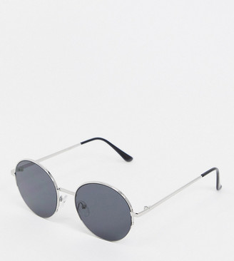 South Beach Exclusive large round sunglasses in smoke with silver frames