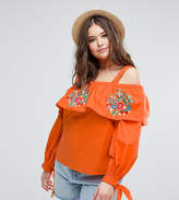 Asos Cotton Off Shoulder Top With Embroidery