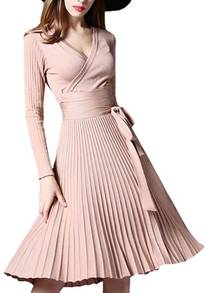 Tidecc Women Long Sleeve V Neck Tea Cocktail Party Dress High Waist Midi Swing Dress A Line Skater Dress 7 Colors (One Size