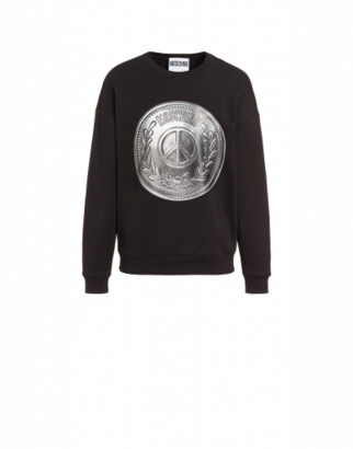 Moschino Coin Cotton Sweatshirt Man Black Size 44 It - (34 Us)