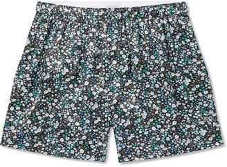 Sunspel Printed Silk-Satin Boxer Shorts - Men - Green