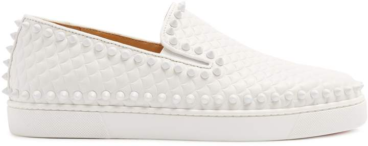 Christian Louboutin Pik Boat embossed-leather slip-on trainers