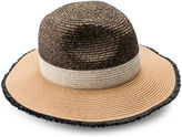Collection 18 Colourblock Fray Edge Straw Panama Hat
