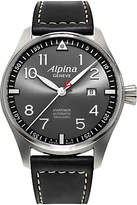 Alpina Al-525gb4s6 Startimer Pilot Automatic Sunstar Leather Strap Watch, Black/dark Grey