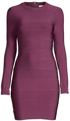Herve Leger Mini Long-Sleeve Bodycon Dress