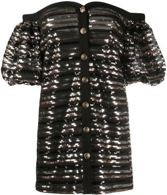 Philosophy di Lorenzo Serafini off the shoulder sequin embellished dress