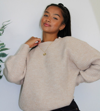 ASOS DESIGN Petite crew neck fluffy jumper with balloon sleeve
