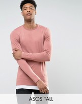 Asos TALL Longline Muscle Long Sleeve T-Shirt With Contrast Hem In Pink/White