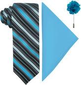 Jf J.Ferrar JF Fashion Stripe Tie, Pocket Square and Lapel Pin Set
