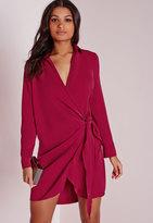 Missguided Crepe Wrap Shirt Dress Raspberry
