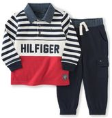 Tommy Hilfiger 2-Piece Rugby Shirt and Cargo Fleece Pant Set in Navy