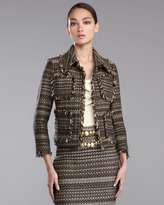 St. John Striped Tweed Jacket, Caviar