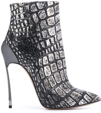 Casadei Metallic Crocodile Effect Ankle Boots