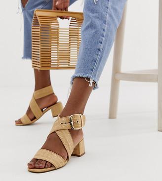 Asos Design DESIGN Hip Hop block heeled sandals in natural-Beige
