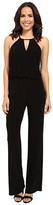 Laundry by Shelli Segal Matte Jersey Solid Halter Jumpsuit with Metal Details
