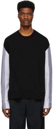 Juun.J Black Striped Crewneck Sweater