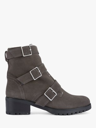 Mint Velvet Abigail Suede Biker Boots, Grey