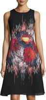 Julia Jordan Fit-and-Flare Printed Dress, Black Multi