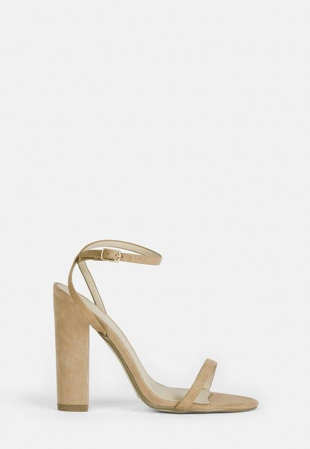 Missguided Nude Wide Fit Faux Suede Heeled Sandals