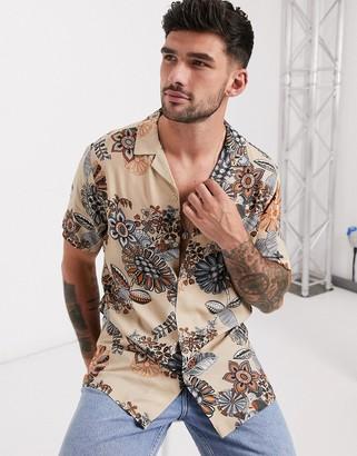 ASOS DESIGN regular revere shirt in neutral eastern paisley floral