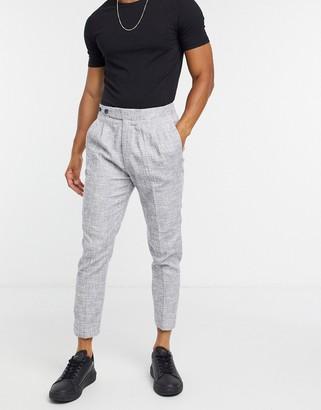 ASOS DESIGN smart tapered linen trousers in grey cross hatch