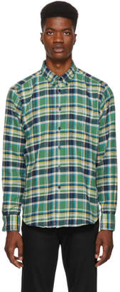 Naked & Famous Denim Denim Green and Navy Rustic Flannel Shirt