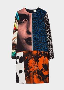 Women's Patchwork 'New Masters' Placement Print Shift Dress