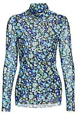Ganni Women's Mesh Floral Turtleneck Top
