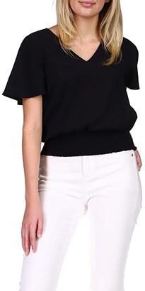 MICHAEL Michael Kors Solid Smocked Blouse (Black) Women's Blouse