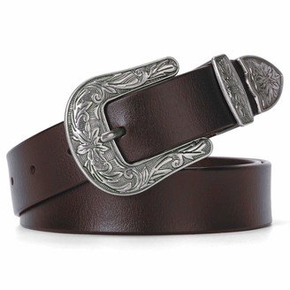 Viannchi Women's Cowboy Belt - Genuine Leather Belt with Engraved Buckle - Vintage Fashion Leather Belt - Western - Country - Retro - Brown - M