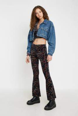 Urban Renewal Vintage Inspired By Vintage Paisley Velvet Flare Trousers - black S at Urban Outfitters