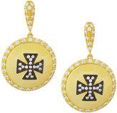 Freida Rothman Crystal Maltese Cross Shield Drop Earrings