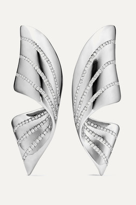 G BY GLENN SPIRO Ribbon Titanium Diamond Earrings - Silver