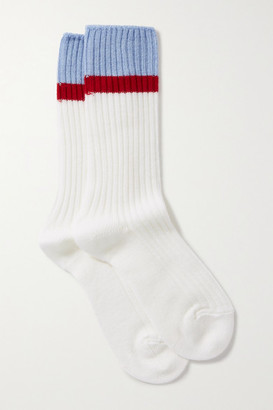 Maria La Rosa Cross Fit Striped Ribbed Merino Wool-blend Socks - Off-white