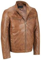 Wilsons Leather Mens Stand Up Collar Leather Jacket W/ Quilted Lower Back