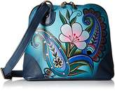 Anuschka Handpainted Leather Small Multi Compartment Zip-Around Denim Paisley Floral