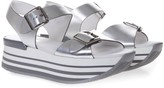 Hogan Maxi H222 Sandals In Silver Leather