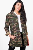 Boohoo Janine Camo Studded Longline Denim Jacket